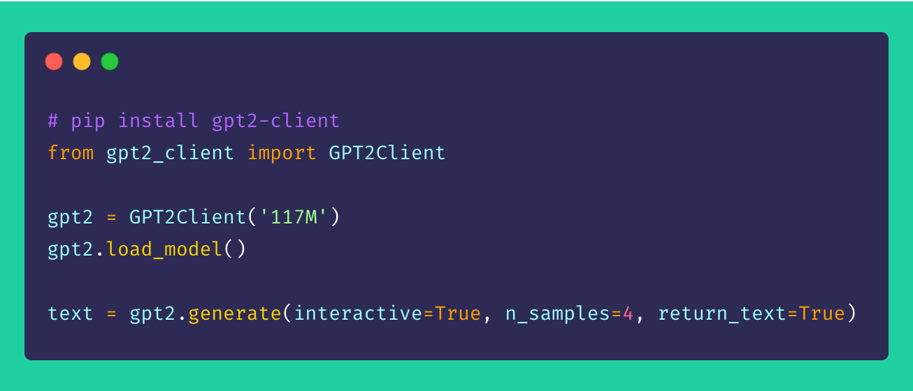 Exploring GPT-2 models in less than five lines of code. Retrieved from Github.